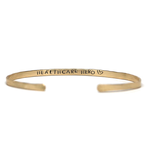 Healthcare Hero / Covid Sucks Thin Hammered Cuff