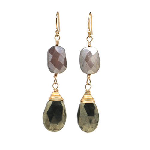 Delilah Double - Grey Moonstone & Pyrite