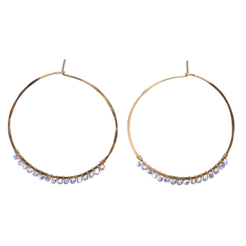Janine Hoops Medium - Mystic Lavender Moonstone