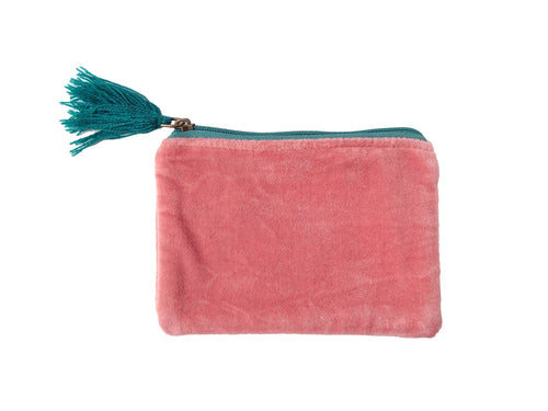 Velvet Zip Pouch - Pink & Turquoise