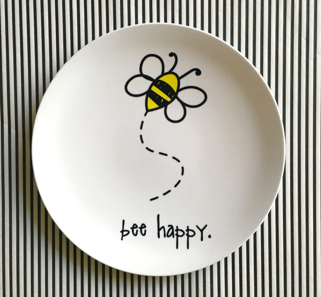 "bee happy. 8"" melamine plate."