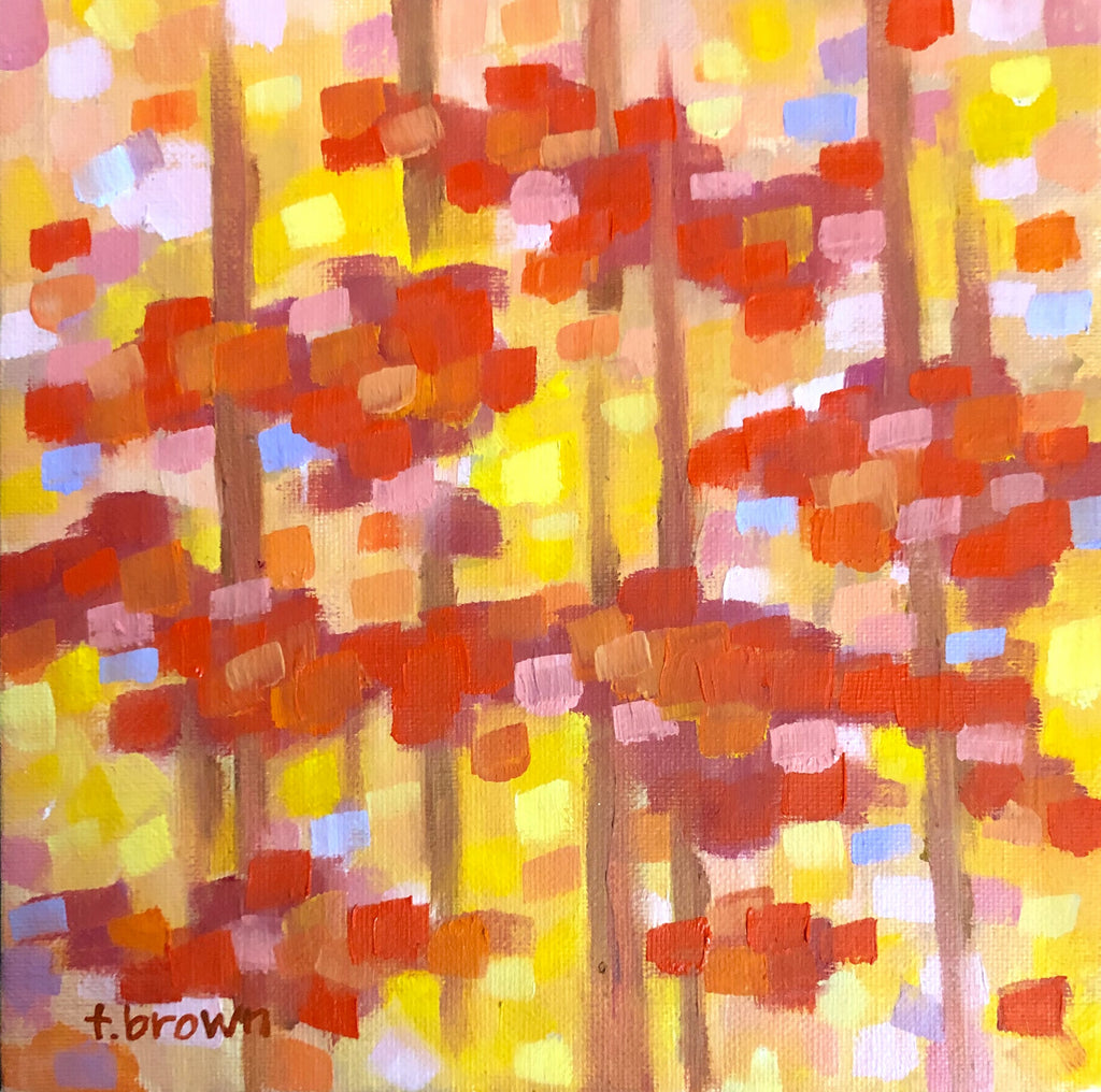 autumn. 8x8 oil painting.