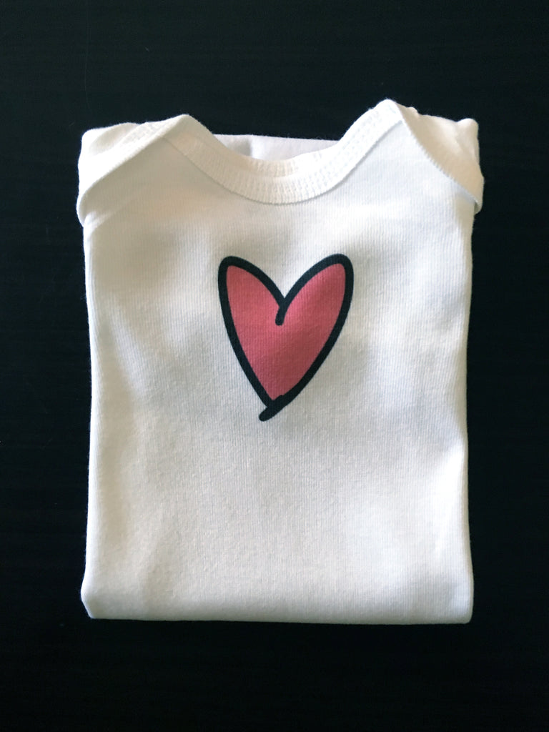 pink heart. newborn gown.