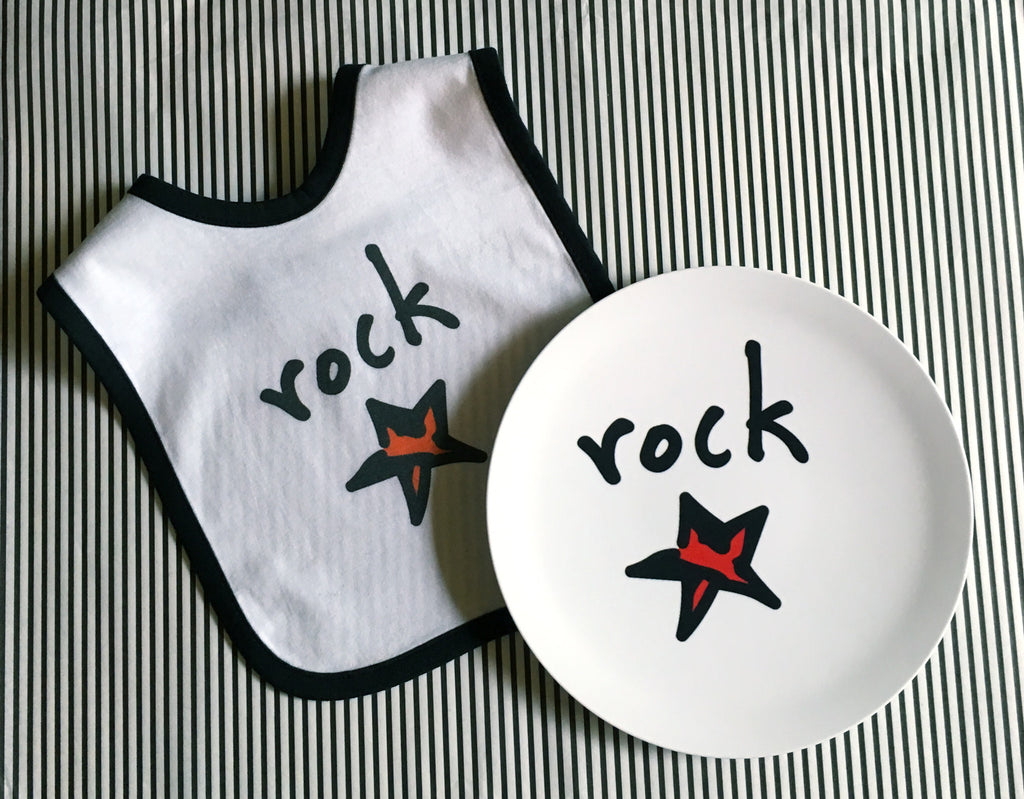 "rock star. 8"" melamine plate."