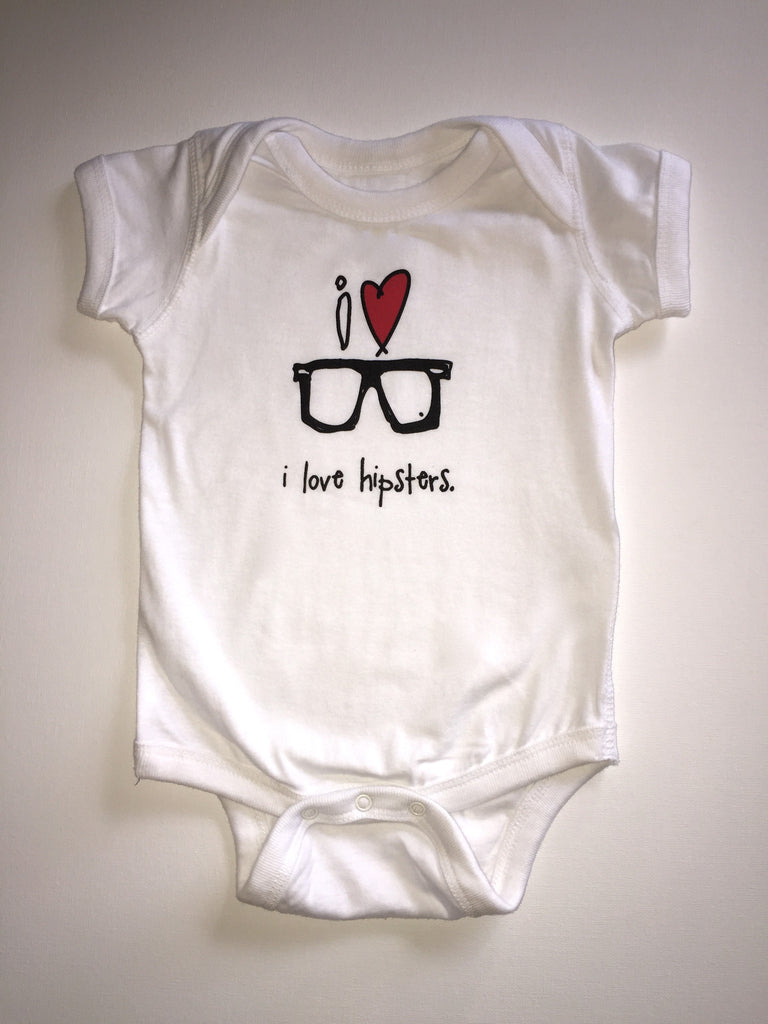 i love hipsters. baby bodysuit.