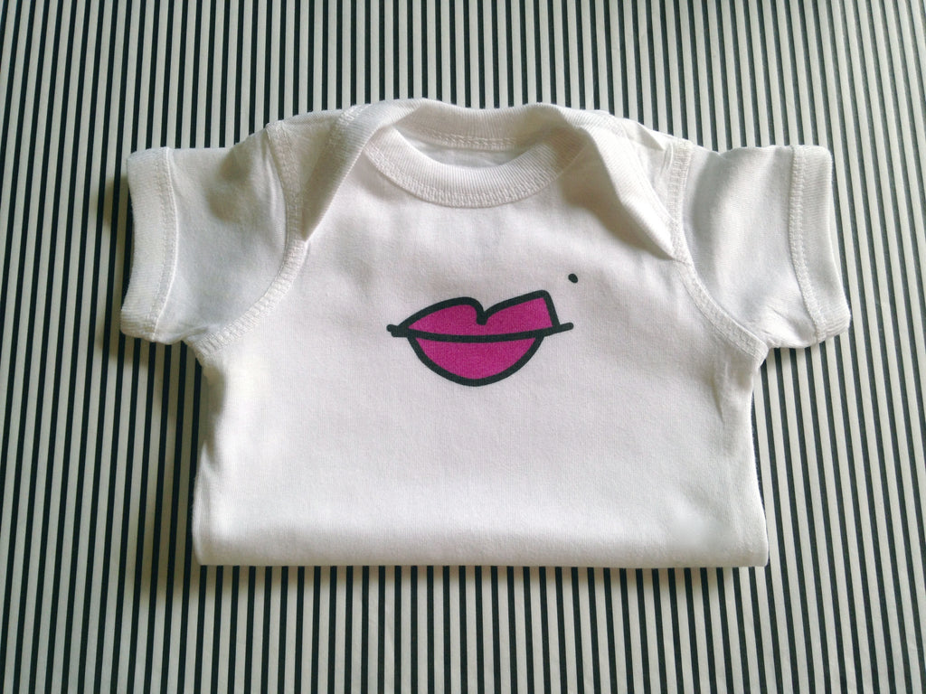 lips. baby bodysuit.