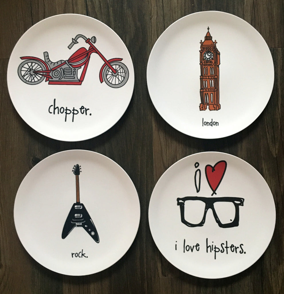 "i love hipsters. 8"" melamine plate."
