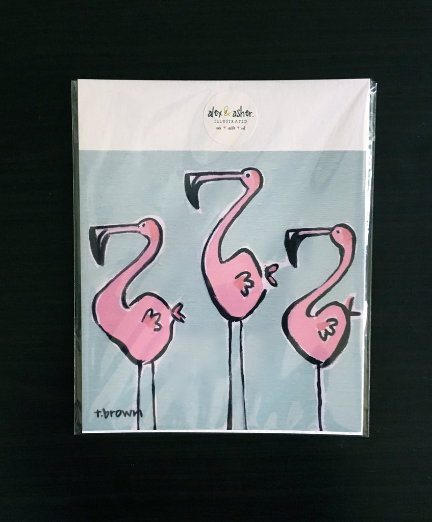 three flamingo amigos. 8x8 art print.