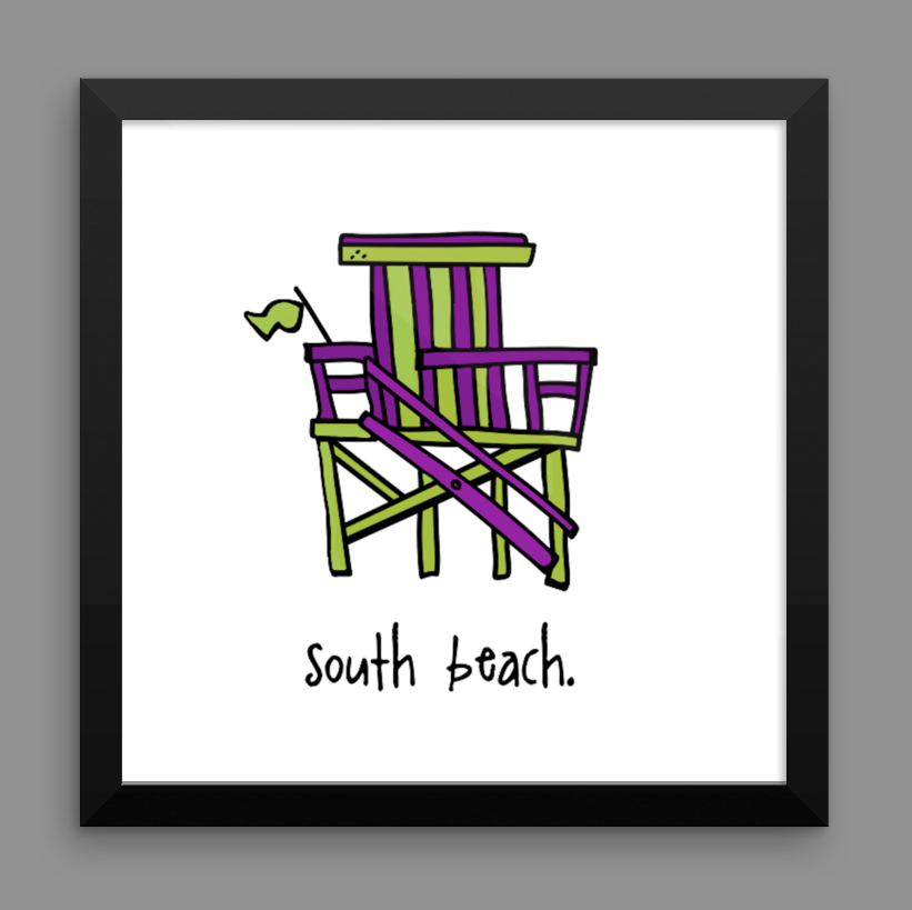 south beach. 12x12 framed poster.
