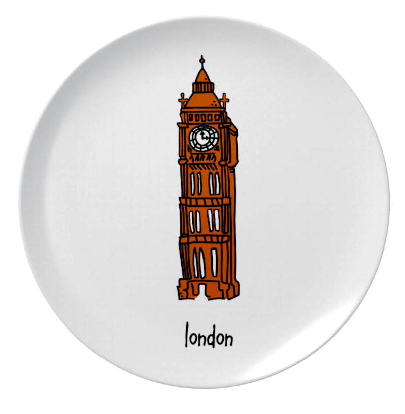 "london. 8"" melamine plate."