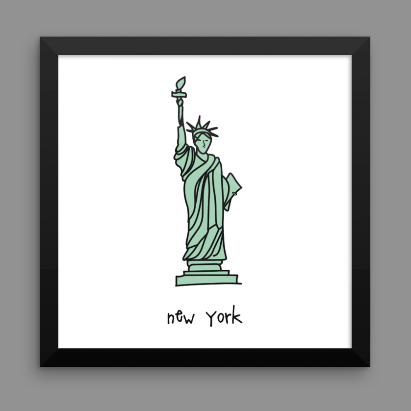 new york. 12x12 framed poster.