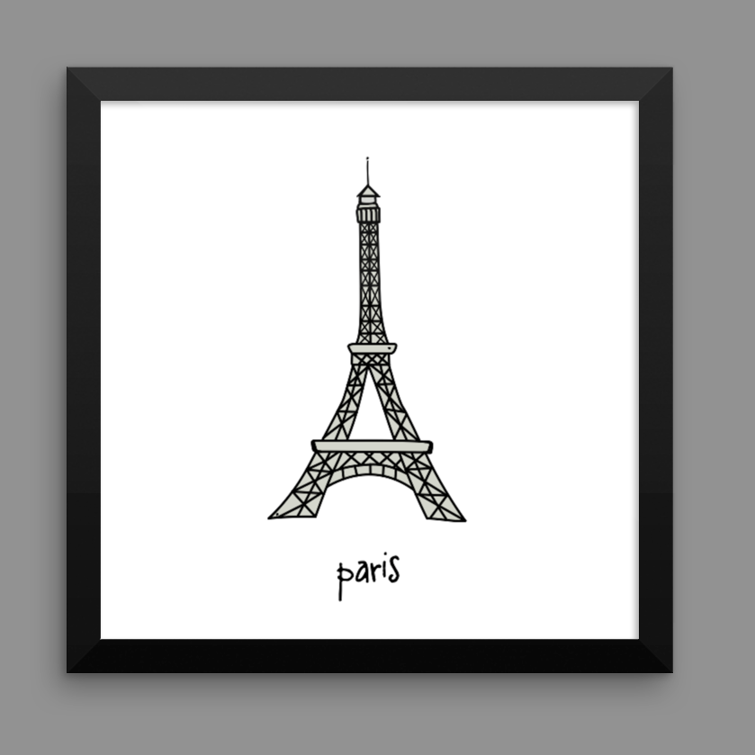 paris. 12x12 framed poster.