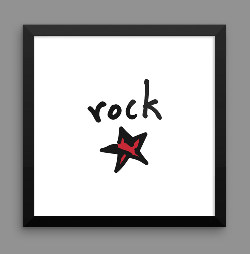 rock star. 12x12 framed poster.