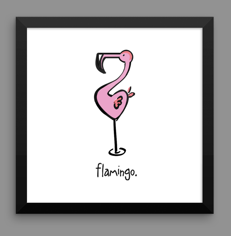 flamingo. 12x12 framed poster.