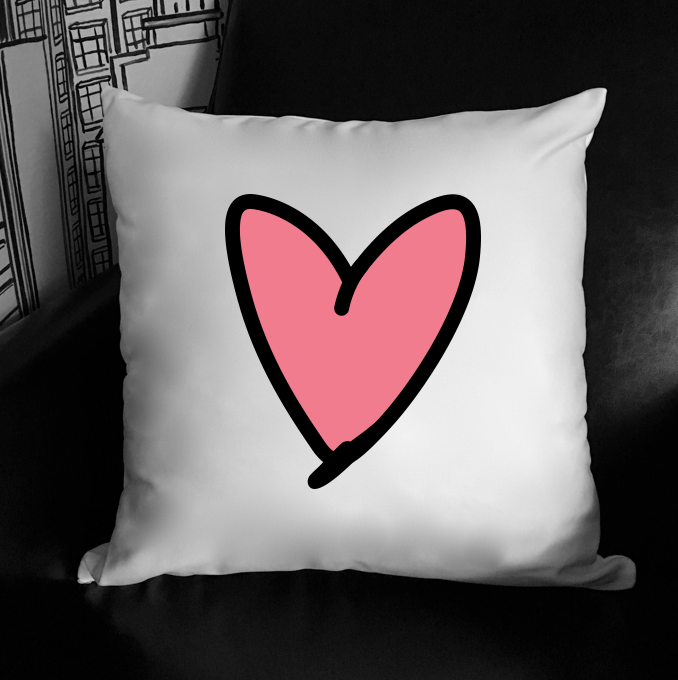 pink heart. 18 x 18 pillow.