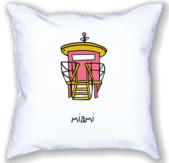 miami. 18x18 pillow.
