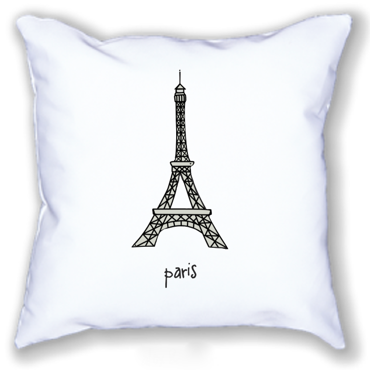 paris. 18x18 pillow.