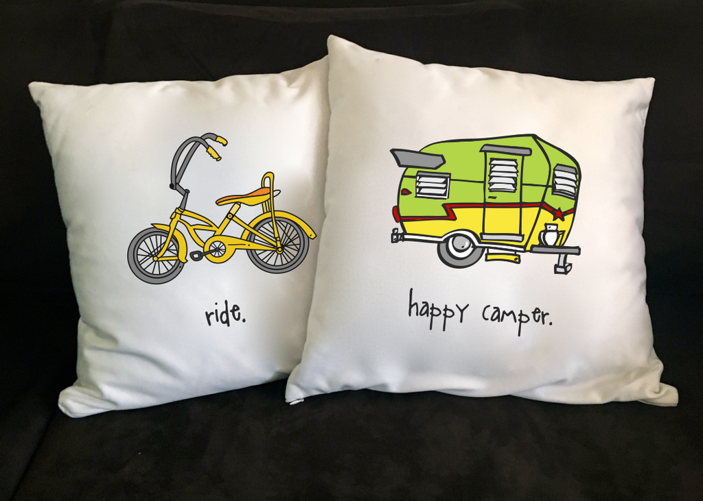 happy camper. 18x18 pillow.