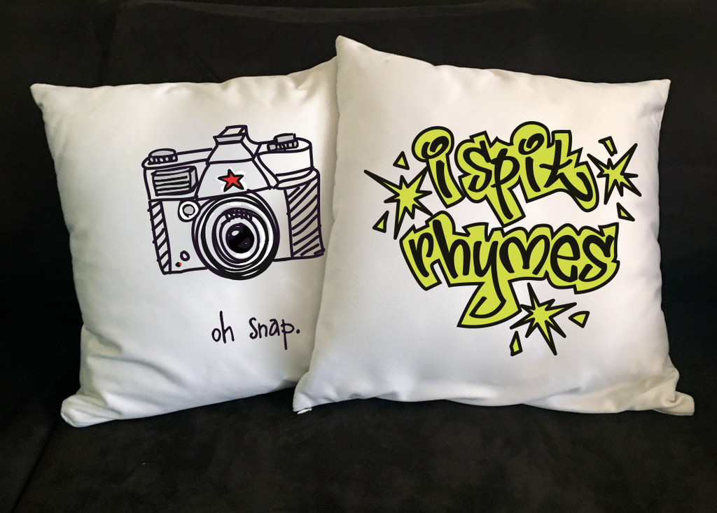 oh snap. 18x18 pillow.