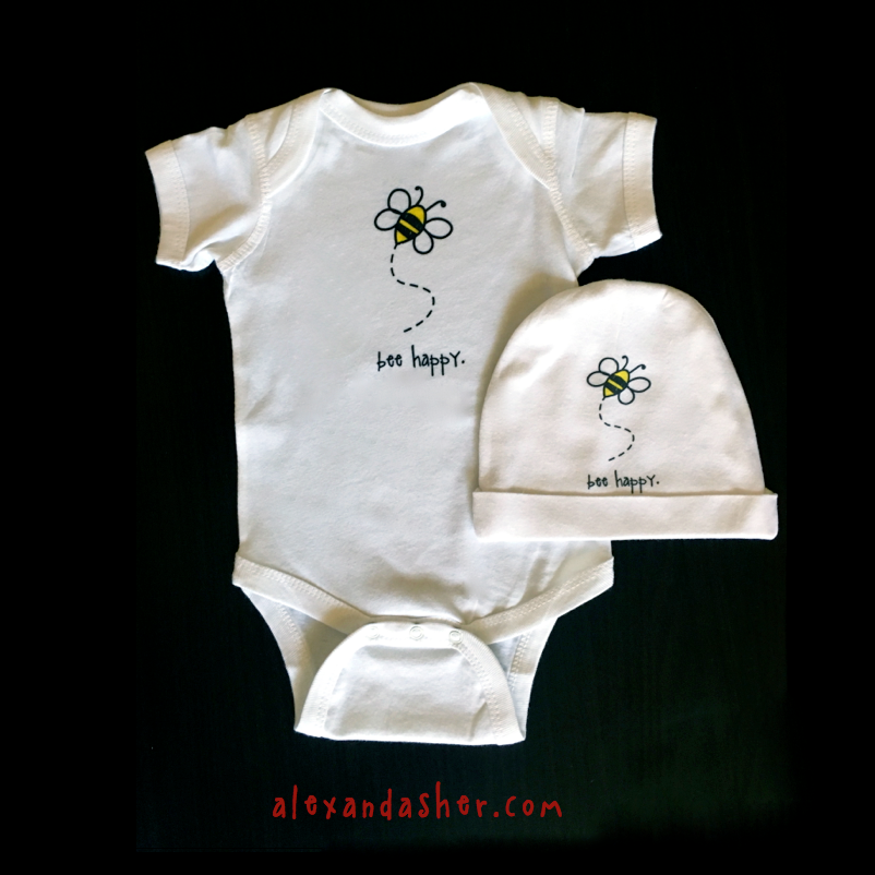 bee happy. baby bodysuit.