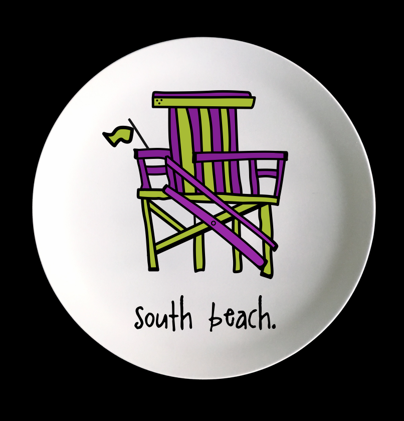 "south beach. 8"" melamine plate."