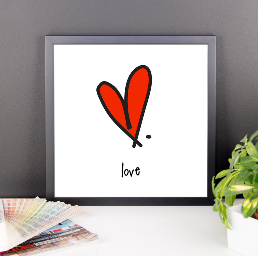 love. 12x12 framed poster.
