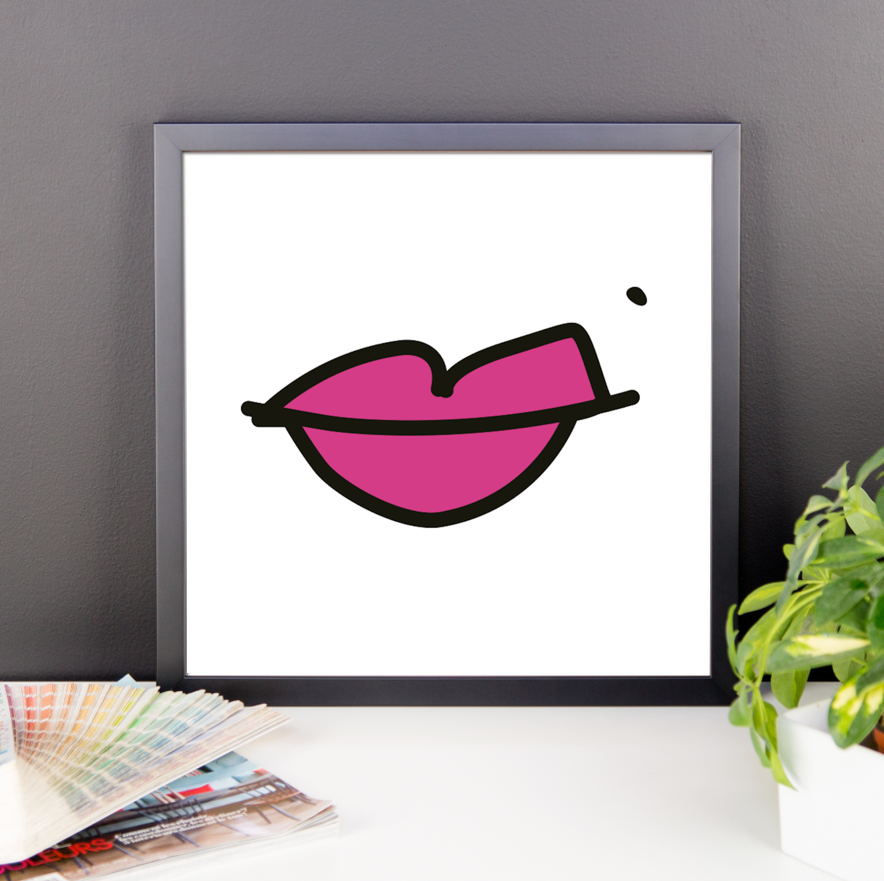 lips. 12x12 framed poster.