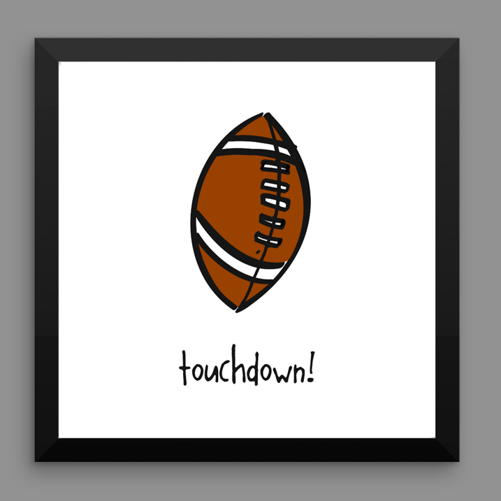 football. 12x12 framed poster.