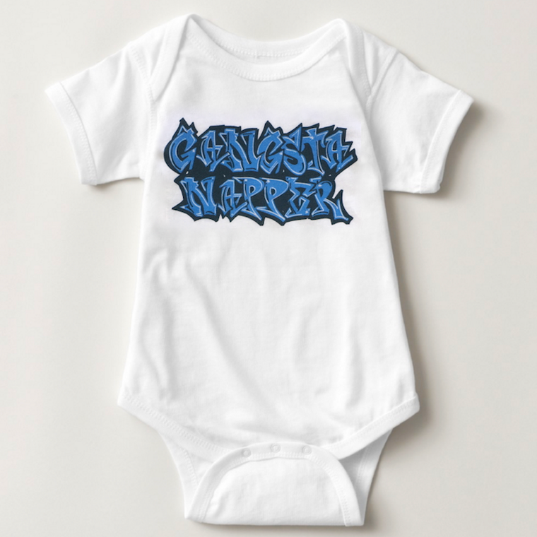 gangsta napper. baby bodysuit.