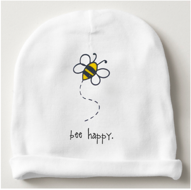 bee happy. beanie.