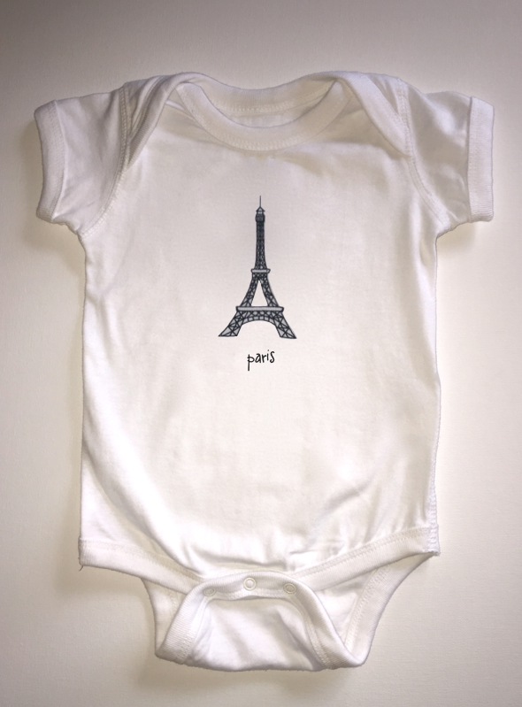 paris. baby bodysuit.