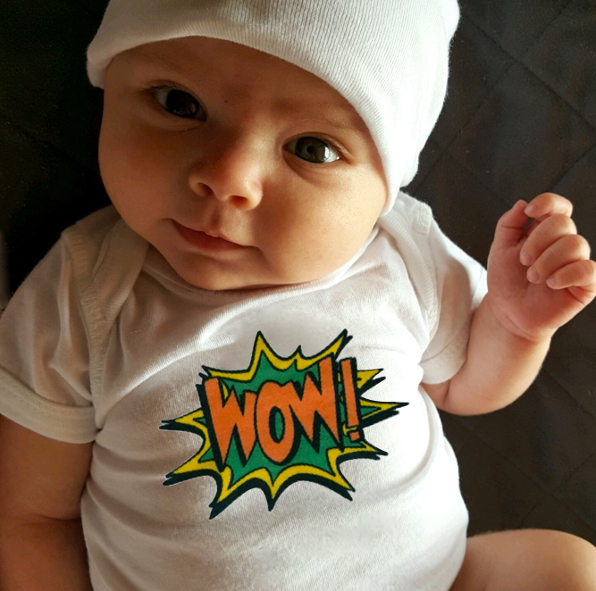 wow! baby bodysuit.