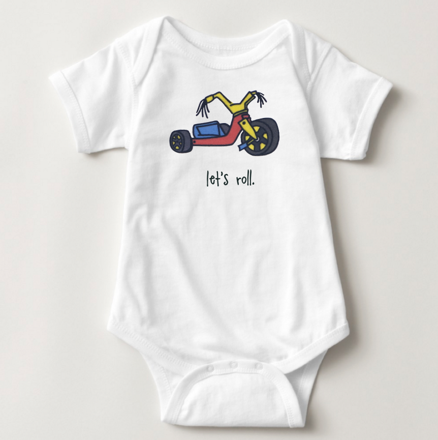 let's roll. baby bodysuit.