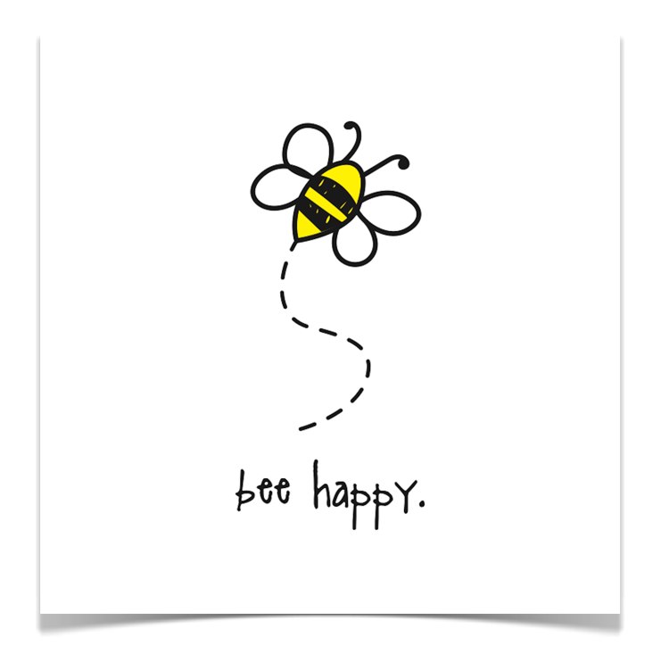 bee happy. 8x8 print.