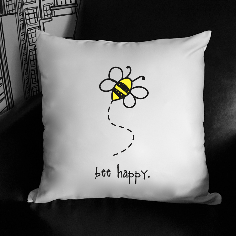 bee happy. 18x18 pillow.