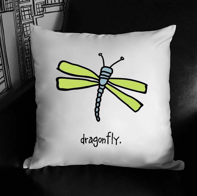 dragonfly. 18x18 pillow.