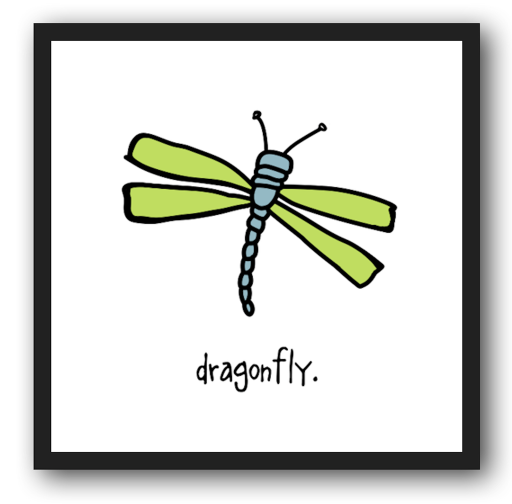 dragonfly. 12x12 framed poster.