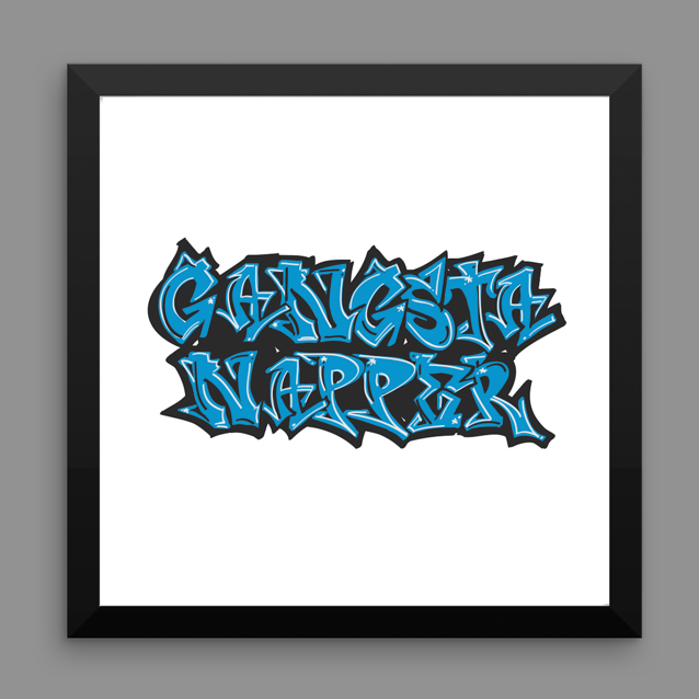 gangsta napper. 12x12 framed poster.