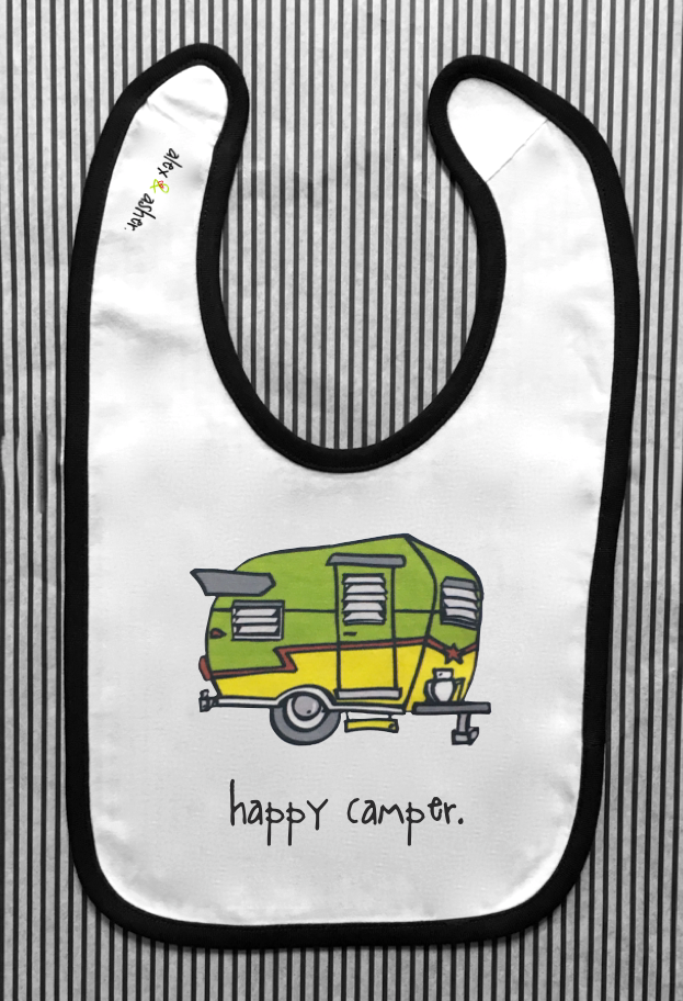 happy camper. baby bib.