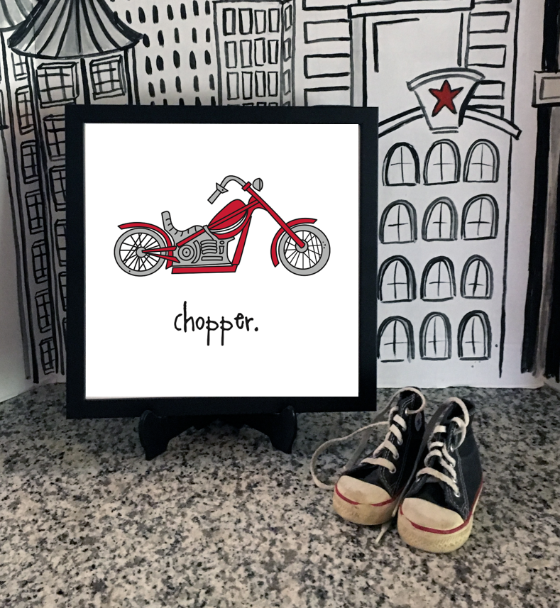 chopper. 12x12 framed poster.