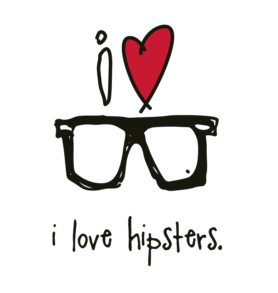 i love hipsters. 18x18 pillow.