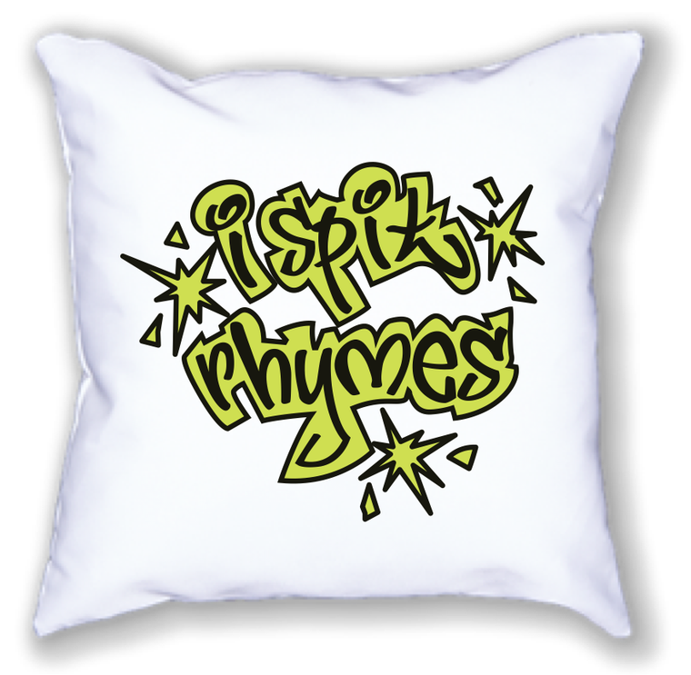 i spit rhymes. 18x18 pillow.