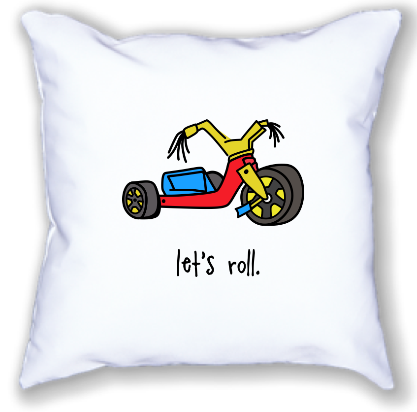 big wheel. 18x18 pillow.