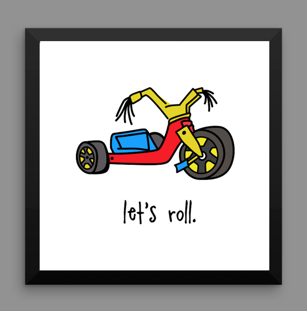 big wheel. 12x12 framed poster.