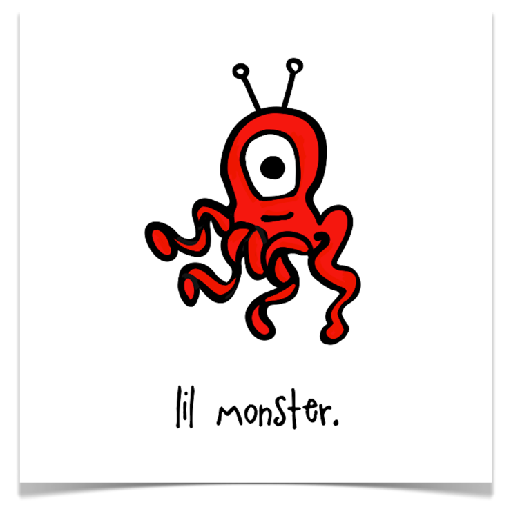 lil monster. 8x8 print.