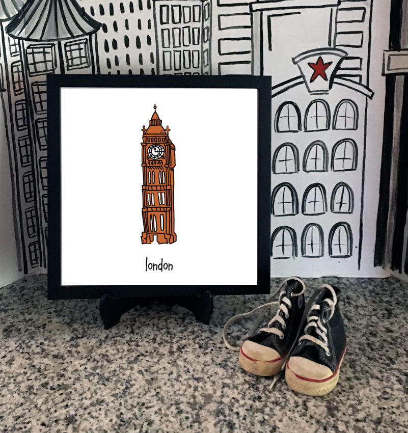 london. 12x12 framed poster.