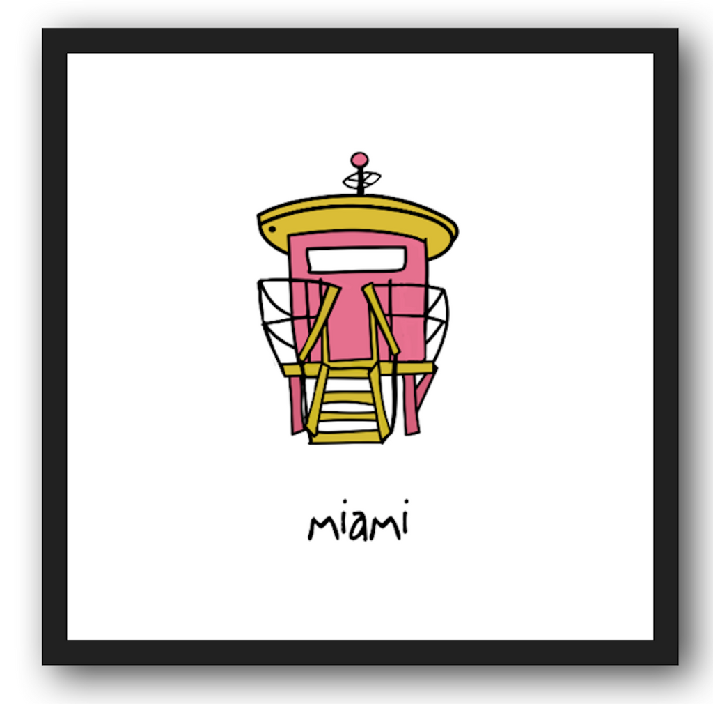 miami. 12x12 framed poster.