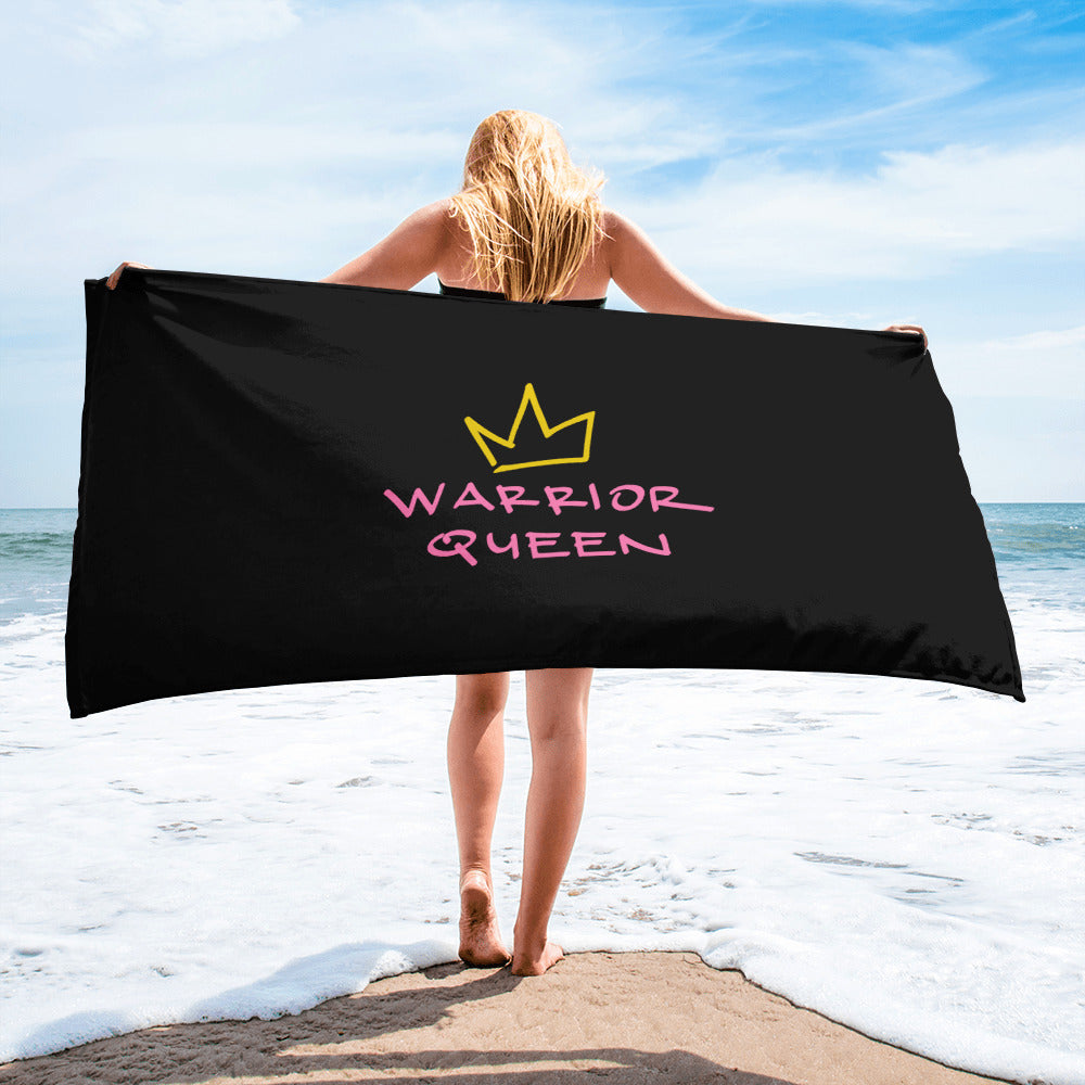 warrior queen black & white towel.