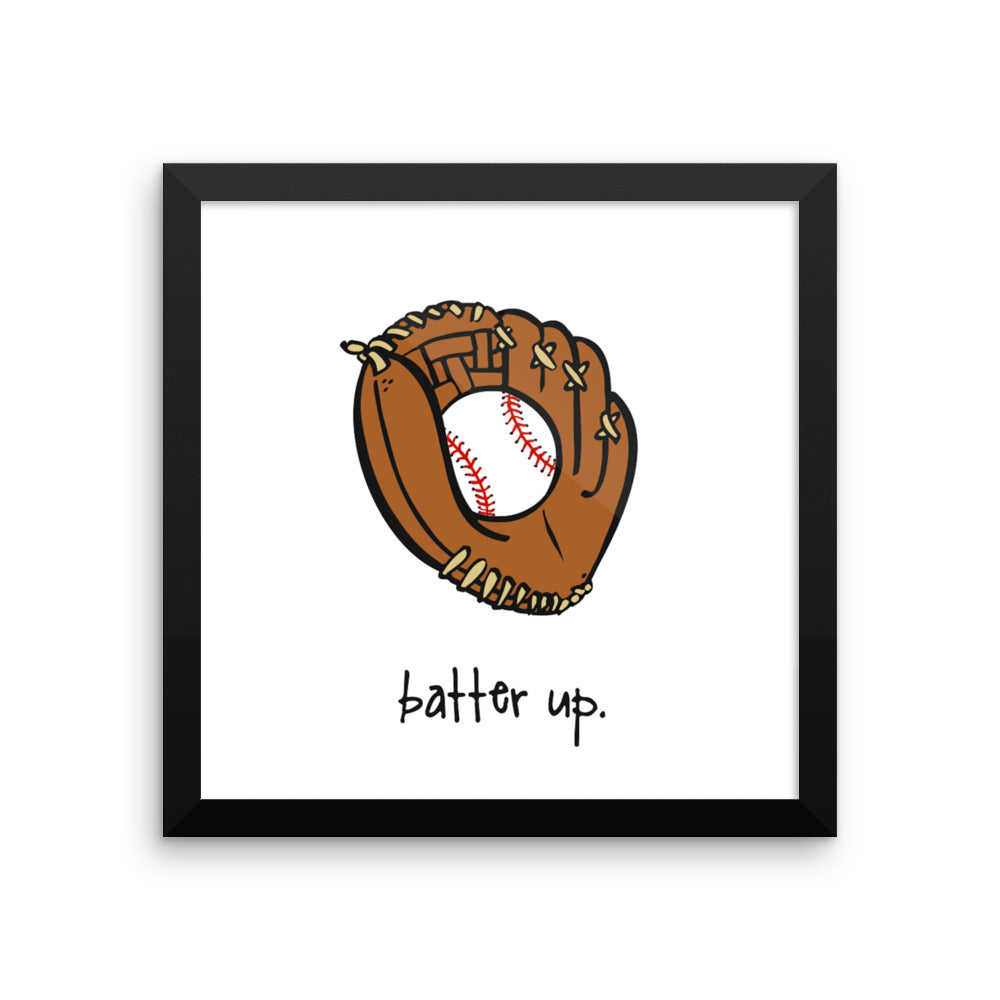batter up. 12x12 framed poster.