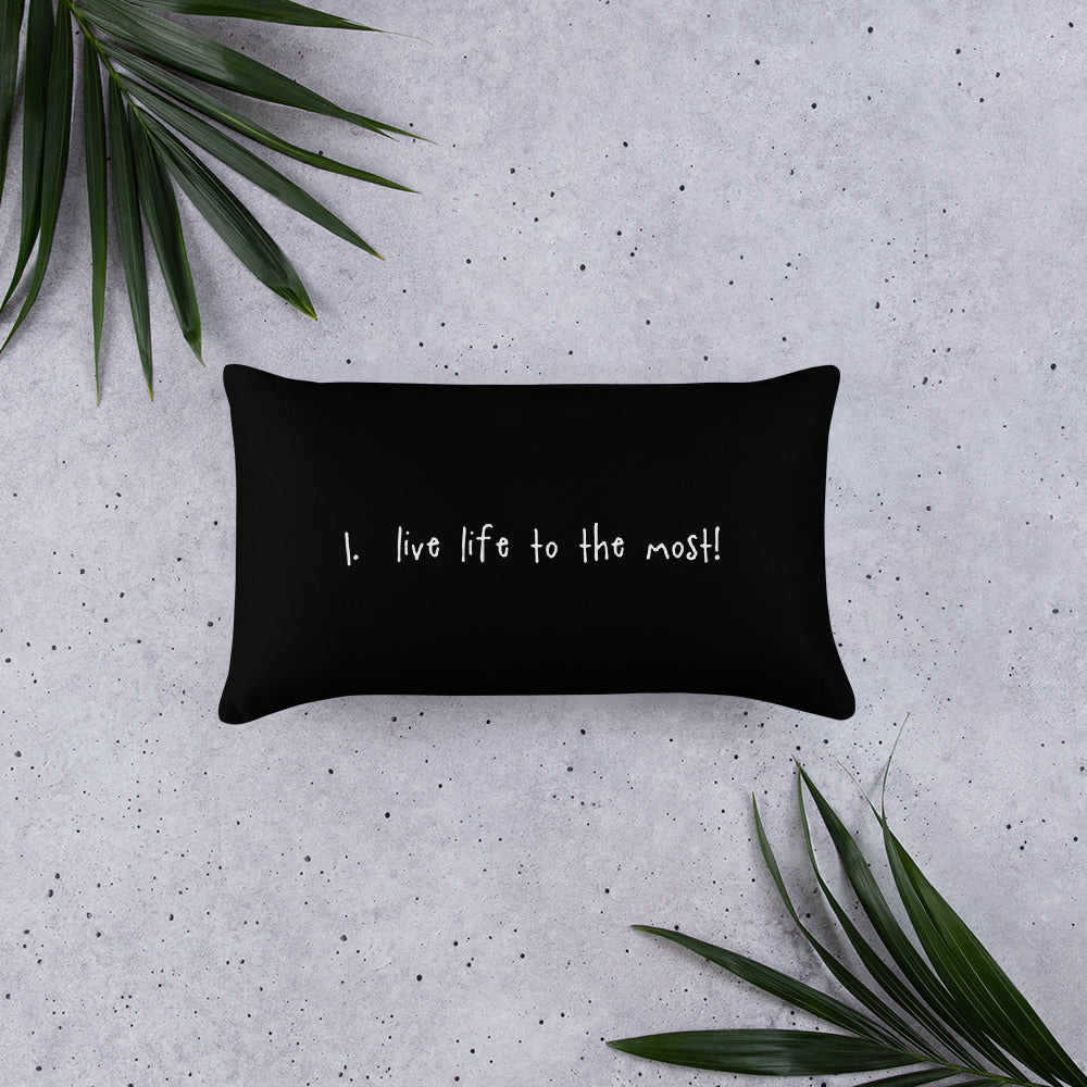 tip 1. black throw pillow. 2 sizes.